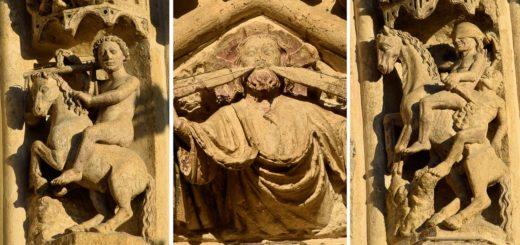étranges statues de la façade de la cathédrale d'Amiens