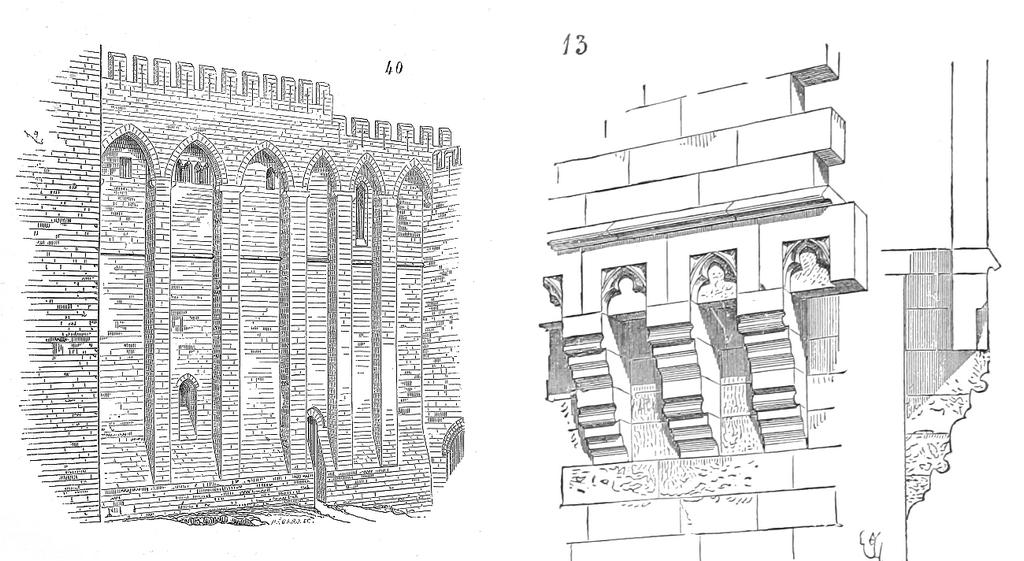 A gauche, mâchicoulis sur arcs visible sur la palais des papes à Avignon. A droite, mâchicoulis sur consoles.