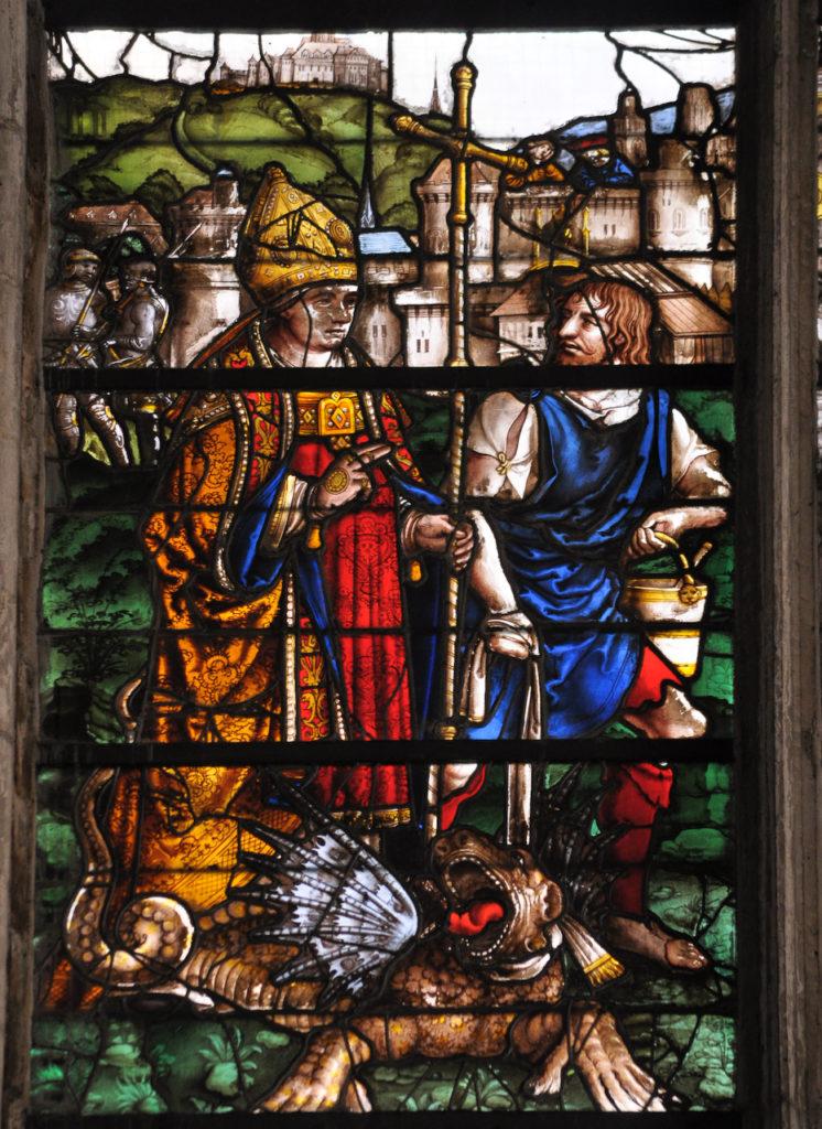 Vitrail de la vie de Saint-Romain dans la cathédrale de Rouen (XVIe siècle)