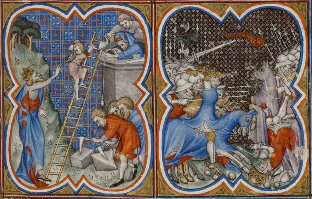 Chantier de construction au Moyen Âge